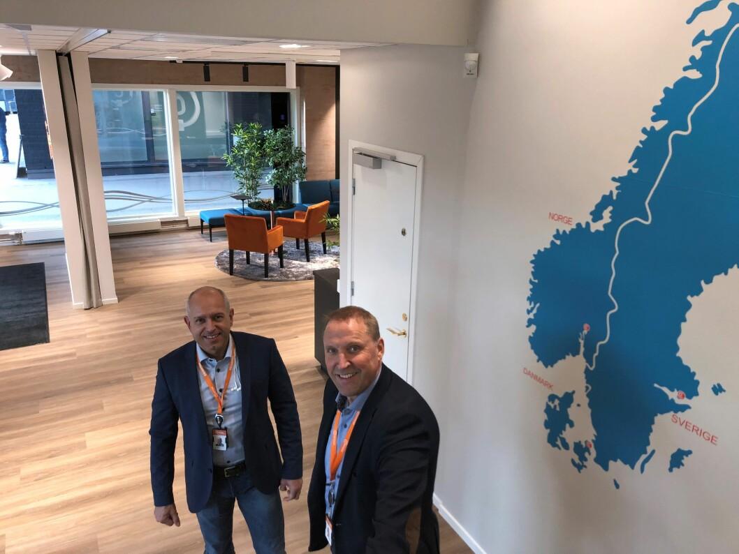 Nasjonal salgsansvarlig Knut Willy Rydz Larsen og administrerende direktør Rolf Gunnar Reisænen gleder seg over fornyelsen i lokalene på Storo, og ser frem til mulighetene de vil gi både Certego-ansatte og kunder (foto: Even Rise).