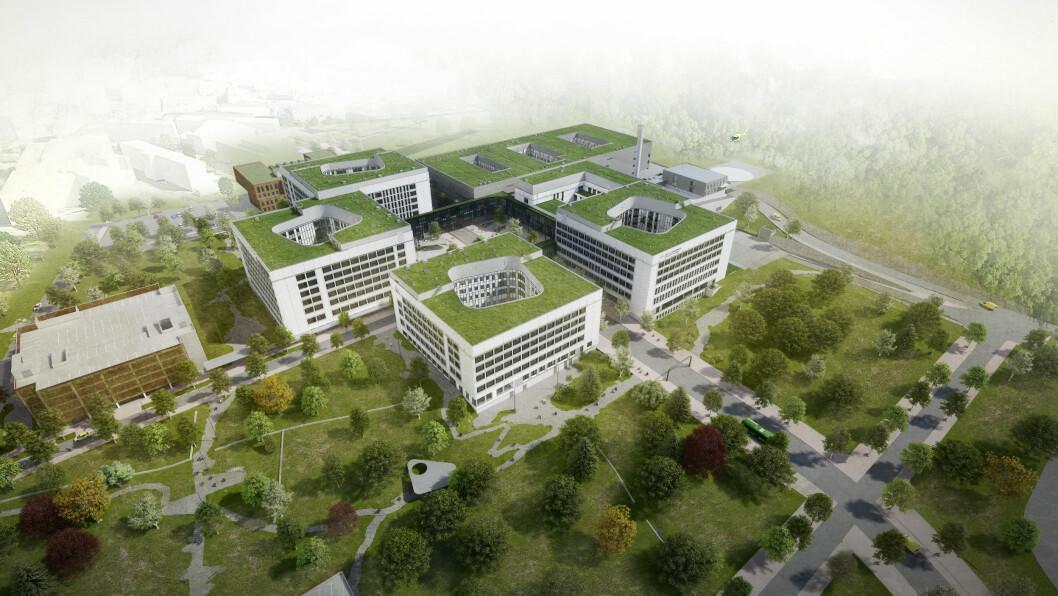 Helse Stavanger HF har bestemt seg for hvem de blant andre ønsker at skal levere adgangskontroll til det nye sykehuset (illustrasjonsfoto: SUS2023/Nordic Office of Architects).