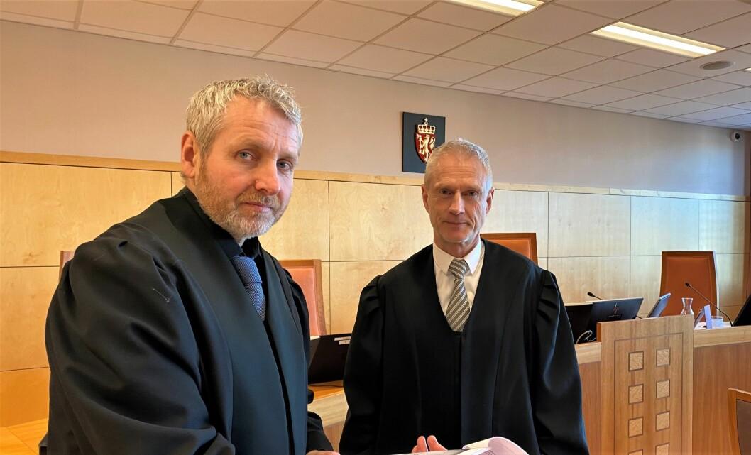 Politiinspektør Richard Røed påsto lang fengselsstraff for mannen i sikkerhetsbransjen. Advokat Tore M. Famestad (t.h.) er ikke enig. Dom i saken faller senere.