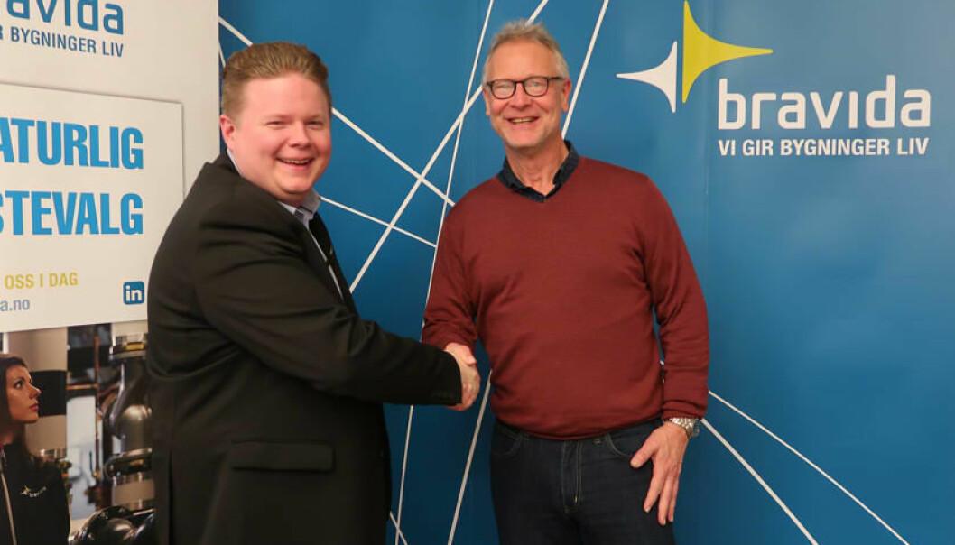 Frode Andersen i Bravida og Dag Reinemo i AddSecure ser frem til samarbeidet .