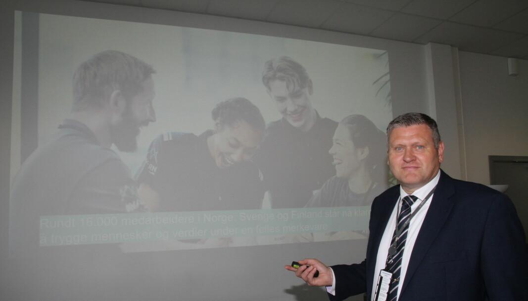Country manager Kjell Frode Vik ser frem til at Avarn Security blir et innarbeidet navn i Norge. Mandag forsvant Nokas-navnet, med unntak av i kontanthåndteringen som fortsetter under det gamle merkevarenavnet.