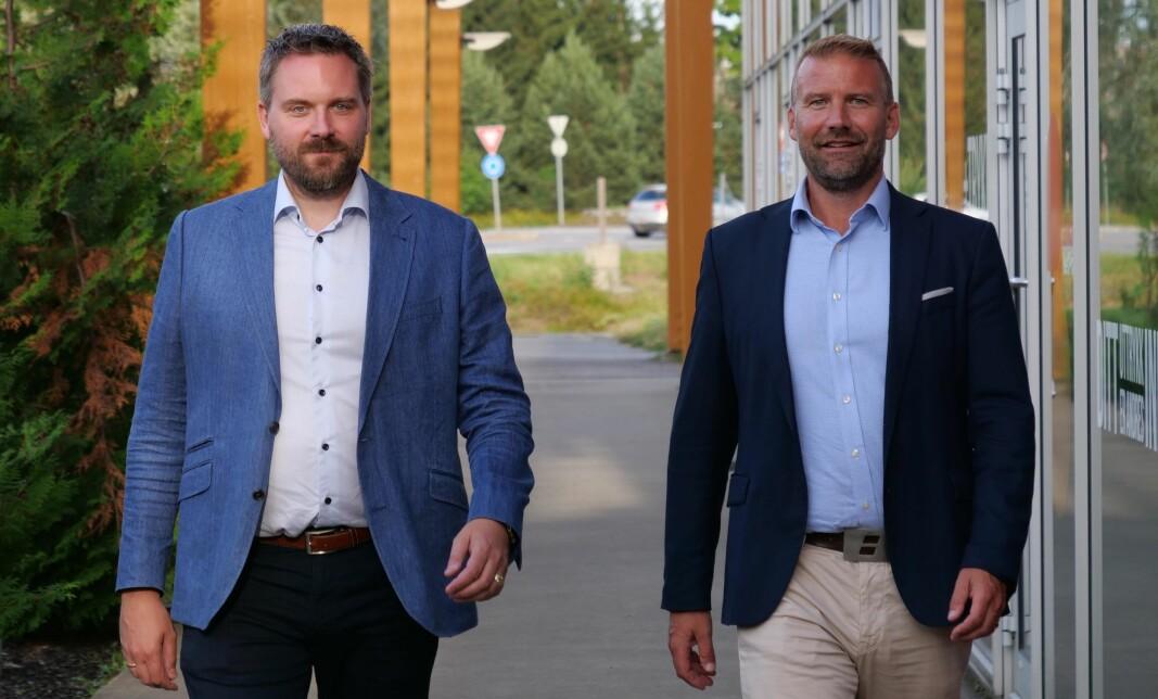 Lars Eirik Berg (t.v.) sammen med sikkerhetsdirektør i HRP Carl-Axel Hagen. Berg er fra første oktober ny fagdirektør for fysisk sikkerhet og analyse i HRP.