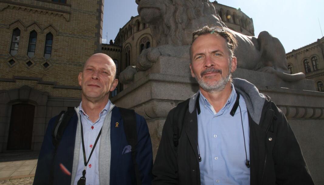 Runar Karlsen i NHO Service og Handel og Terje Mikkelsen i Norsk Arbeidsmandsforbund konstaterte i natt at det blir vekterstreik, etter forhandlinger seks og en halv time på overtid.