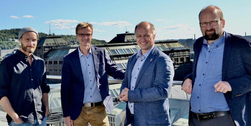 August Flatby, Kjetil Lundberg, René Tofte og Terje Skog Jensen gleder seg over samarbeidet som er inngått mellom Salto Systems og Unloc.