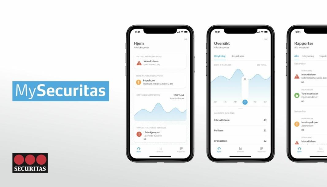 Her vises eksempler på hva appen MySecuritas byr på.