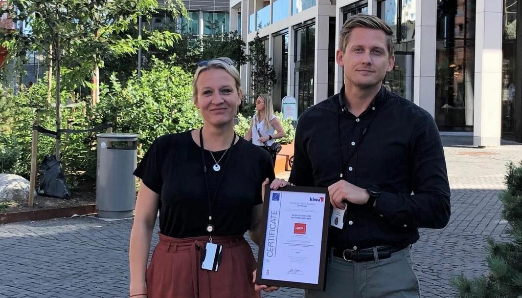 HRP-direktørene Lena Sagen og Niclas Berlin Nilssen har ledet arbeidet med ISO-sertifisering i HRP.